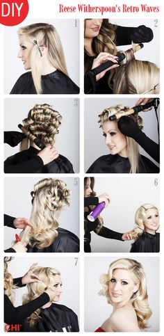 How-To: Reese Witherspoon's Retro Waves. And this can be done using a CHI Turbo 1 Inch Curling Wand which is what I already have!!!