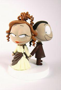 Les Folles Marquises: Figurines pour le mariage de Katia Even - Wedding cake topper
