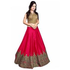 The JT Store - Meenaxi Pink Lehenga With Dhupiyan Top & Benglori Silk Bottom Only Rs. Lehenga Gown, Pink Lehenga, Prom Dresses, Formal Dresses, Embroidered Silk, Red Blouses, Fashion Wear, Black Blouse, Nice Tops