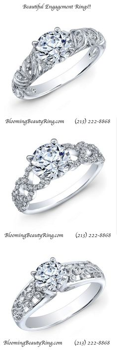 A trio of the most beautiful and popular engagement ring styles by BloomingBeautyRing.com  (213) 222-8868  #EngagementRings #PopularEngagementRings #BeautifulEngagementRings