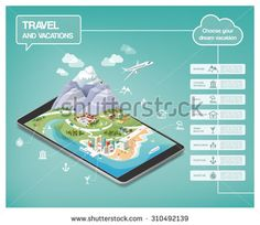 Dream vacations infographics, travel destinations types on an augmented reality landscape including mountains, seaside, cities and nature, icons set