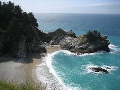 Julia Pfeiffer Burns State Park..water fall into ocean and Redwood forests in one park