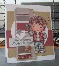 From our Design Team! Card by Alina Meijer featuring Retro Luka :-) Shop for our products here - http://lalalandcrafts.com/ Coloring details and more inspiration from our Design Team here - http://lalalandcrafts.blogspot.ie/2014/06/inspiration-friday-stripes.html