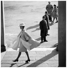 Tilly Tizzani in a wool coat by Fabiani, Florence, Italy, Queen, March 1961