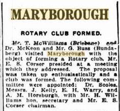 1931 Rotary Club formed in Maryborough