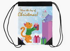 Share The Joy of Christmas Drawstring Bag #cats #kittens #tabby #christmas #holidays