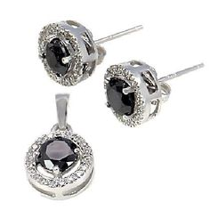Lauren: 2.5ct 10mm Halo Jacket Black Basket Stud Earring & Pendant Set - Trustmark Jewelers