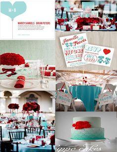 Pink Cupcake Weddings - red and teal wedding inspiration