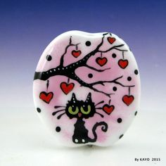 """THE LOVE TREE"" byKAYO a Handmade KITTY CAT Lampwork Art Glass Focal Bead SRA #Lampwork"