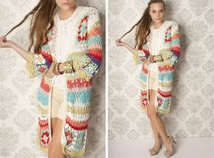 Granny Square jackedl by Agostina Bianchi Crochet Coat, Crochet Quilt, Crochet Jacket, Crochet Cardigan, Crochet Clothes, Free Crochet, Finger Crochet, Beautiful Crochet, Colorful Fashion