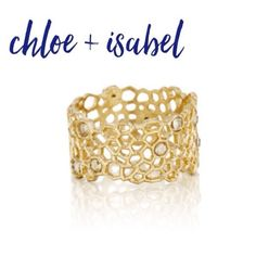Chloe+Isabel Gold Honeycomb Ring $FIRM Duplicating the organic golden structures of honeycomb walls, this fine lace-like ring displays both artistry and delicate design. Scattered Swarovski crystals pack the perfect amount of sparkle and emulate honey filled hexagons in this beautiful band. -worn 12k gold-plated -nickel-free -available in sizes 6, 7, + 8 -golden honey hues Chloe + Isabel Jewelry Rings