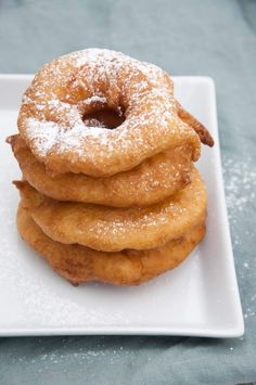 A stack of Vegan Apple Fritter Rings