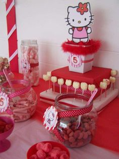 Cute candy buffet at a Hello Kitty birthday party! See more party ideas at CatchMyParty.com!