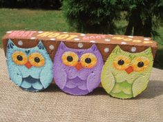 Painted Pavers HOOT Decorative Painting Pattern from Oil by OilCreekOriginals, Painted Bricks Crafts, Painted Pavers, Brick Crafts, Painted Rocks, Brick Projects, Paver Patterns, Brick Art, Paint Brick, Painting Concrete