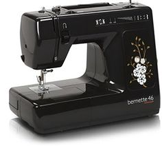 bernette 46  cool retro look reminiscent of early sewing machines  8 stitches  Needle thread cutter  Snap on presser feet  Automatic bobbin winder