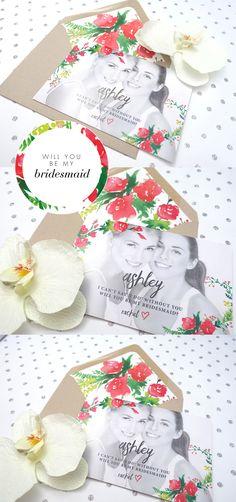 Bright & happy will you be my bridesmaid card. cutie....