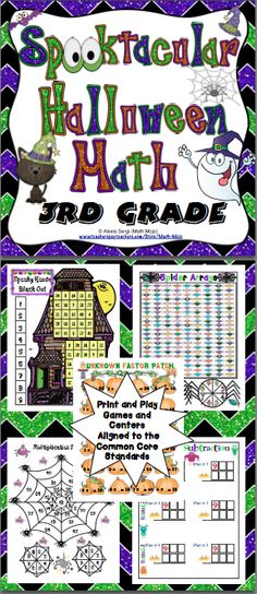 Halloween Math (3rd Grade): Your students will have a blast with this Spooktacular set of 10+ Halloween games and activities. They make great centers, individual, small group, or whole class activities! All activities are aligned to the Common Core Standards! Also available for 4th grade and 5th grade. $