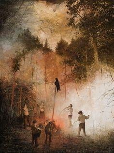 Lord of the Flies, Jarmo Mäkilä, Oil on canvas, 2010 : Art William Golding, Masks Art, Classic Literature, Figurative Art, Oil On Canvas, Book Art, Beast, Contemporary Art, Illustration Art