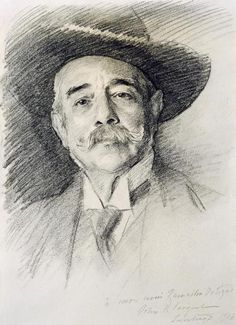 john singer sargent figure drawings - portrait of Ramacho Ortigao