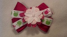 Green and Red Apple Hair Bow for Girls by GloriaMillerCreation, $6.25