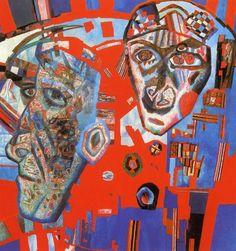 Dos cabezas (1925) de Pável Filónov