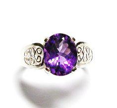 "Amethyst ring, purple ring, solitaire ring, amethyst, birthstone ring, purple,   s 7  ""Purple Tango"" on Etsy, $69.50"