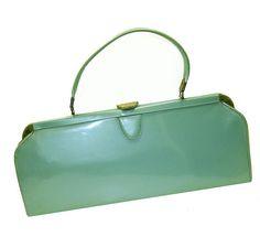 Vintage 1950's aqua blue purse