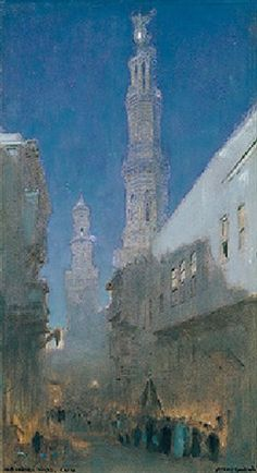 An Arabian night, Cairo by Albert Goodwin