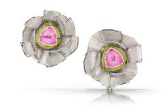 Earrings with 18.9 cts. t.w. watermelon tourmaline and diamonds in platinum, $11,840; Alishan