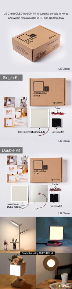 We introduce LG Chem OLED DIY Kit, which is currently available through Korean online market for sale. Experience OLEDs at home by designing your own lighting. It will also be available in EU and US from May. LG 화학 OLED 조명 DIY 키트를 소개합니다. 키트는 아래 링크를 통해 구매하실 수 있습니다!. Home Lighting, Lighting Design, Oled Light, Indirect Lighting, Interior Design Elements, Wooden Lamp, Lighting Solutions, Electronics Projects, Vintage Lighting