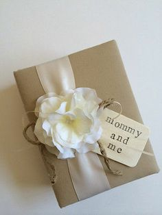 Mommy and Me Baby Brag Book - Ivory Ribbon, White Hydrangeas, Wood Tag