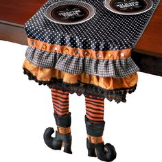 Witch Legs Table Runner!   I have got to make this!  It will be a hit at Halloween Bunco!