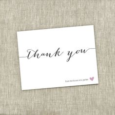 Bridal Shower Thank You, Small Heart Shower, Simple Modern Bridal Shower Thank You Card - Future Mrs. - Customizable  - PRINTABLE / DIY - The Chambray Bunny - www.thechambraybunny.com