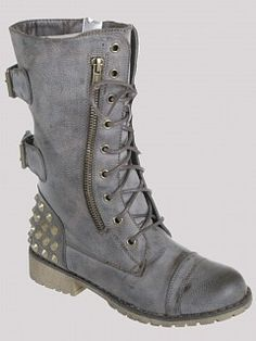 Grey Studded Combat Boots - Boot Hto