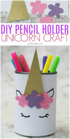 DIY Unicorn Pencil Holder - Kids event - unicorn crafts for kids DIY pencil holder easy - Pot Mason Diy, Mason Jar Crafts, Bottle Crafts, Easy Crafts For Kids, Easy Diy Crafts, Diy For Kids, Upcycled Crafts, Craft Ideas For Girls, Decor Crafts