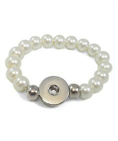 Faux Pearl & Silvertone Large Interchangeable Snap Charm Bracelet #zulily #zulilyfinds