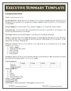 Examples Of An Executive Summary | Executive Summary Template More