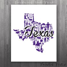 Forth Worth Texas Landmark State Giclée Print  8x10 by PaintedPost, $15.00 #paintedpoststudio - Texas Christian University - TCU Horned Frogs- What a great and memorable gift for graduation, sorority, hostess, and best friend gifts! Also perfect for dorm decor! :)