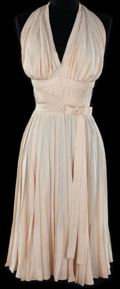 White rayon-acetate crepe dress by Travilla for Marilyn Monroe in The Seven Year Itch 1955