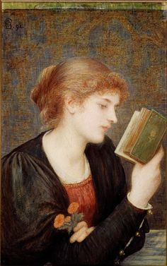 """""""Love Sonnets,"""" 1894, by Marie Spartali Stillman (10 Mar 1844–6 March 1927), British Pre-Raphaelite painter of Greek descent, arguably the greatest female artist of that movement. During a 60-year career she produced over 100 works, contributing regularly to exhibitions in Great Britain and the United States. She also posed for several Pre-Raphelite painters, including Rossetti, Burne-Jones, and Ford Madox Brown."""