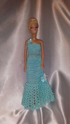 Crochet Barbie Aqua Blue Dress, Crochet Barbie Doll Clothes, Fashion Doll Crocheted Evening Gown by GrandmasGalleria on Etsy