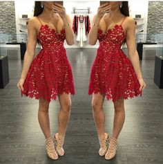 Sexy A-Line Red Lace Short Prom Dress Homecoming Dresses 2019 Spaghetti Straps Party Gowns · MychicDress · Online Store Powered by Storenvy Red Lace Prom Dress, Lace Homecoming Dresses, Hoco Dresses, Pretty Dresses, Beautiful Dresses, Evening Dresses, Dress Up, Dress Prom, Dress Clothes