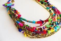 Crazy Summer. Colorful bohemian necklace. by GataValquiria on Etsy, €50.00