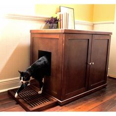 This refined wood litter box cabinet provides a discreet spot for your feline friend to do his business without taking away from your home's elegant decor. The cabinet sports a nice Mahogany finish and features a side entrance for easy in and out access. Enclosed Litter Box, Litter Box Enclosure, Bubble Tent, Best Cat Litter, Litter Box Covers, Wood Cat, Pet Furniture, Wooden Furniture, Furniture Ideas