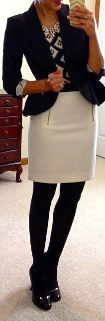"Hello, Gorgeous!: threads. Top ℅ Flourish Boutique  White skirt Black peplum jacket  Black opaque tights  Black round-toe pumps  ""Be Present"" bracelet c/o Ali Oesch Jewelry  Necklace from eBay"