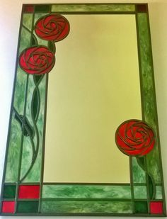 A bespoke Charles Rennie Mackintosh inspired leaded, stained glass effect Red Rose Mirror. By Douglas Payne Stained Glass Mirror, Stained Glass Windows, Fused Glass, Charles Rennie Mackintosh Designs, Glass Picture Frames, Glass Christmas Tree, Enamel Paint, Art Nouveau, Art Deco
