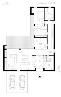 L shaped house plan, 165 square meters Source Best House Plans, Modern House Plans, Small House Plans, House Floor Plans, The Plan, How To Plan, Container Home Designs, House Layout Plans, House Layouts