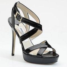 Jimmy Choo Vamp Patent Crossing-straps Sandal Black