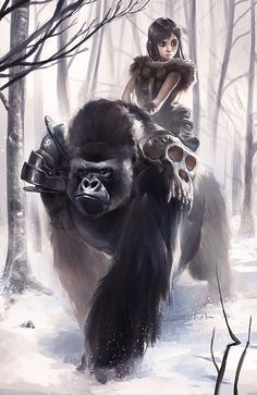 f Halfling Druid Gorilla Mount deciduous forest winter snow hills Fantasy Community Foto Fantasy, Fantasy Kunst, Fantasy World, Fantasy Warrior, Character Portraits, Character Art, Character Concept, Fantasy Wesen, Art And Illustration