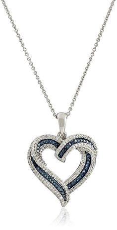 Sterling Silver Blue and White Diamond Heart Pendant Necklace 12 cttw 18 * Continue to the product at the image link. (This is an affiliate link) Diamond Pendant Necklace, Necklace Chain, Diamond Necklaces, Necklace Ideas, Quartz Necklace, Silver Diamonds, Diamond Heart, Sterling Silver Necklaces, Silver Rings